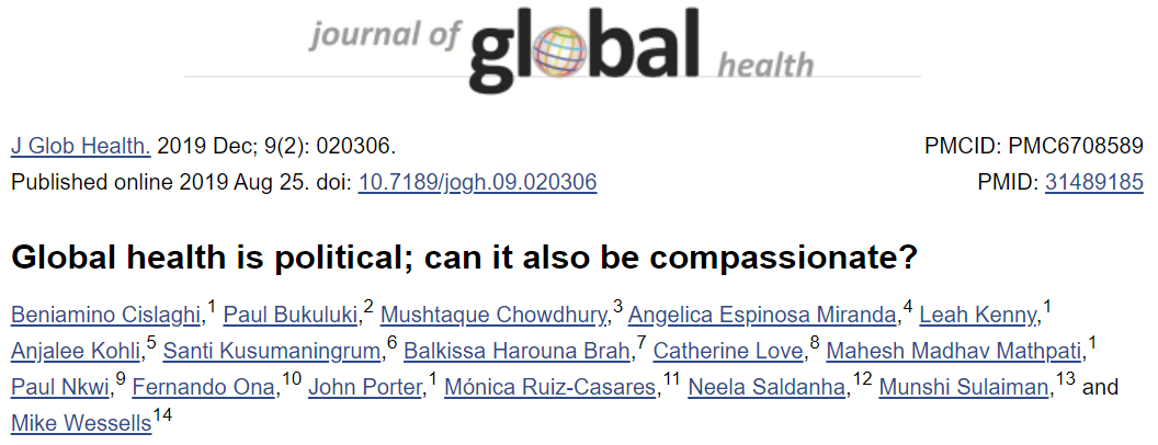 Global health is political; can it also be compassionate?